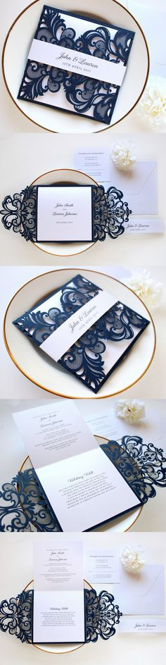 Navy and white laser cut wedding invitation by Paper Bound Love on Etsy