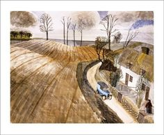 Waltham Cross, 1933 by Edward Bawden Greeting Card Down To Earth Cards Landscape Art, Landscape Paintings, Landscapes, Collage Illustration, Illustrations, Royal College Of Art, Contemporary Artists, Modern Art, Printmaking