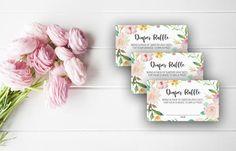 Pink Floral Diaper Raffle Ticket Baby Shower Diaper Raffle