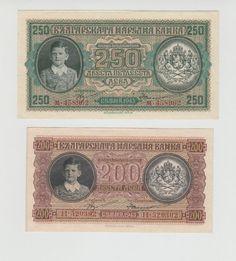 SIMEON II BULGARIAN BULGARIA KINGDOM LOT 2 BANKNOTE 200 250 LEVA 1943 x