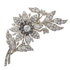 Antique Victorian Diamond Yellow Gold Floral Brooch   1stdibs.com