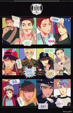EXO Anime version - They are boys from anime. Perfect