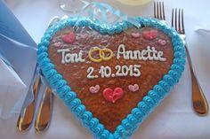 Brautpaar-Lebkuchenherz mit Namen und Hochzeitsdatum