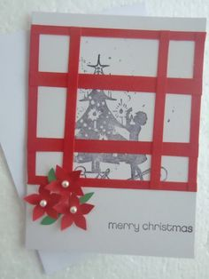 Handmade Stamped Window Christmas Card by ChicEventsDecor on Etsy