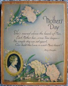 Check out Mothers Day Wood Wall Plaque Card Mary Douglas Poem Antique Vintage 1930s 1940s   http://www.ebay.com/itm/-/162482318775?roken=cUgayN&soutkn=rNfr2v via @eBay