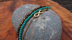 Dainty stacking bracelet. Set of 3 stacking bracelet. Beaded bracelets. Infinity charm bracelet. Boho stacking bracelet. Turquoise bracelet.