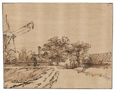 Rembrandt, Windmill on the bulwark of the Sint Anthonispoort, Amsterdam. Landscape Drawings, Art Drawings, Rembrandt Drawings, Drawing Scenery, Dutch Golden Age, Expositions, Urban Sketching, Old Master, Gravure