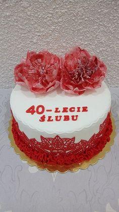 Tort z kwiatami z papieru jadalnego na 40- lecie ślubu