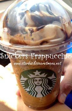 Snickers Frappuccino! You're not you when you're hungry! Recipe here: http://starbuckssecretmenu.net/starbucks-secret-menu-caramel-and-nut-chocolate-bar-frappuccino/