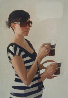 Nicolas Uribe {figurative #surreal art multi-arm female holding tea striped dress woman painting #loveart} nicolasuribeart.com