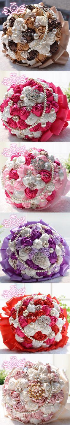 Many Colour Gorgeous Wedding Flowers Bridal Bouquets Pearl Crystal Artificial Bouquet 2017 New Sparkle Crystal Ramo De Novia