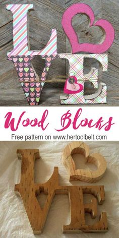 DIY wood craft decoration for Valentine's Day. The LOVE wood blocks (free pattern) are inspired from the Philly LOVE statue.