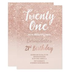 Shop Rose gold glitter ombre script chic Birthday Invitation created by girly_trend. Pink First Birthday, Glitter Birthday, Gold Birthday, Birthday Diy, Birthday Ideas, Happy Birthday, Birthday Brunch, 21st Birthday Cards, 1st Birthday Party Invitations
