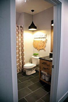 boys bathroom. montauk slate floors, restoration hardware vanity
