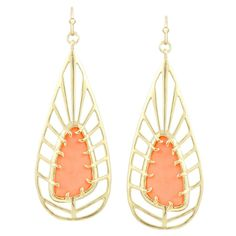 gorgeous gold and coral drop earrings Coral Accessories, Handbag Accessories, Jewelry Accessories, Fashion Accessories, Fashion Jewelry, Jewelry Design, Unique Jewelry, Coral Earrings, Drop Earrings