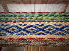 Rosepath rag rug on the loom. 1 of 5. ki