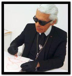 Karl Lagerfeld Sketching out Fashion Designs