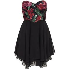 Te Amo Red Rose Sequin Sweetheart Skater Dress ($9.80) ❤ liked on Polyvore featuring dresses, party dresses, womens-fashion, sequin cocktail dresses, red rose dress, chiffon dresses, sequin dresses and sweet heart rose dress
