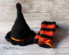 Newborn Witch Hat and Matching Leg Warmers Halloween Fall Crochet Photo Prop Set. $32.00, via Etsy.
