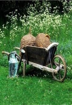 Wheelbarrow & Old Cream Can