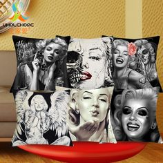 1 Pcs 43*43cm Sexy Marilyn Monroe Cushions Linen Cushion Cover Creative Tattoo Skull Pillow For Living Room Bed Room #Affiliate