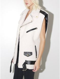 sleeveless biker vest white