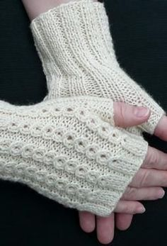 The decorative lace rib pattern looks like strings of tiny cables on top of each mitt and a simple ribbing on the palm side for comfort. The mock cables are actually created with a basic slipped stitch sequence followed by a yarn over in an easy to memorize five row pattern. Free pattern download from Knit Picks