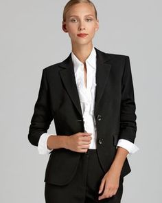 Basler Short Two Button Blazer - Bloomingdale's Exclusive | Triacetate/polyester; lining: viscose | Dry clean | Imported | Notch collar, long sleeves, two button front  | Three button cuffs, flap hip