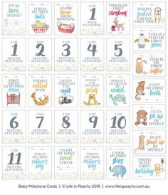 Baby Milestone CardsFREE SHIPPING within Australia32 unisex cards per setFinished size: 105mm x 150mmCards come in keepsake plastic box for safekeepingYou'll never forget the important milestones in your baby's life with these gorgeous