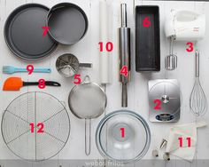 Utensils a beginner baker should have! In Spanish. {1. Two big bowls; 2. Digital scale; 3. Electric mixer + whisk; 4. Rolling pin; 5. Sieve; 6. Loaf pan; 7. Round pans; 8. Silicone spatulas; 9. Brush; 10. Wax/Parchment paper; 11. Pastry bag + some tips (Like 1M or 2D); 12. Cooling rack}