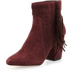 Rebecca Minkoff Ilan Suede Fringe Bootie (415 CAD) ❤ liked on Polyvore featuring shoes, boots, ankle booties, port, high heel bootie, fringe boots, bootie, fringe ankle booties and high heel ankle booties