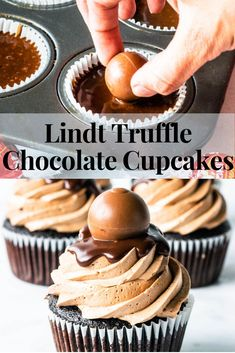 Lindt Truffle Chocolate Cupcakes Add chocolate liquor to icing and or cake mix. Baking Cupcakes, Cupcake Recipes, Cupcake Cakes, Dessert Recipes, Cupcake Emoji, Muffin Cupcake, Lindt Truffles, Chocolate Truffles, Chocolate Ganache