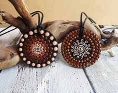 Aboriginal Dot Painted Necklace, Hand Painted Wood Pendant, Earth design, acrylic paint on wood, Biripi Tribe, brown tones