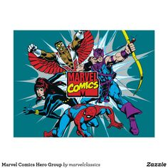 Marvel Comics Hero Group Postcard. Personalize these Classic Marvel character designs and make perfect gifts for any fans. #marvel #comic #gifts #birthday #birthdayparty #birthdaycard #personalize #kids #shopping