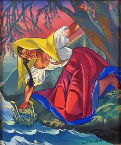 "lamus-dworski: "" Zofia Stryjeńska (Polish, ""Wianki"" / ""Wreaths"" - Polish summer solstice custom of old-Slavic roots [image source] "" Great Paintings, Old Paintings, Root Image, Russian Folk, European Paintings, Summer Solstice, Middle Ages, Pagan, Modern Art"