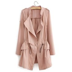 Drawstring Long Sleeve lid Color Casual Loose Women's Trench