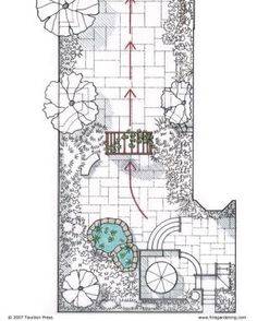 Solutions for Small Gardens, an architect shows tricks for making small garden spaces seem larger. Terracing adds dimension, Three spaces, three different elevations.