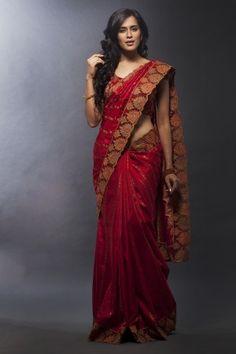 Bright red kancheepuram silk