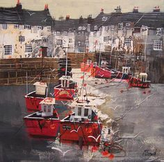 CORNISH HARBOUR AT LOW TIDE   16X16INS100_7943