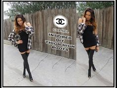 "DIY Thigh High Boots ""CHANEL INSPIRED"" - YouTube (and you should probably put an elastic at the top but this would be a nice and cheap alternative... Plus, it's much easier to store)"