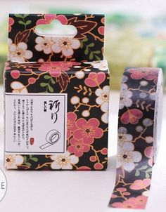 Pink Black Gold Asian Flowers  Paper Washi by PlayingWithColor2