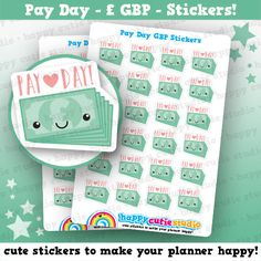 24 Cute Pay Day/Payday GBP Planner Stickers, Filofax, Erin Condren, Happy Planner,  Kawaii, Cute Sticker, UK