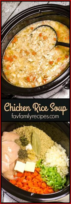 Slow Cooker Chicken and Rice Soup is an easy chicken soup recipe. All of the raw ingredients go in the slow cooker and a delicious soup awaits for dinner. via Favorite Family Recipes Slow Cooker Chicken and Rice Soup Susan Tucker Soups Slo Slow Cooker Huhn, Crock Pot Slow Cooker, Crock Pot Cooking, Slow Cooker Chicken, Slow Cooker Recipes, Cooking Recipes, Healthy Recipes, Crockpot Meals, Healthy Soup
