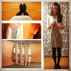 #OOTD | #gray && #navyblue  @pluckypicaroon @thedressdare #thedressdare #dress #cardigan #tights #flats…