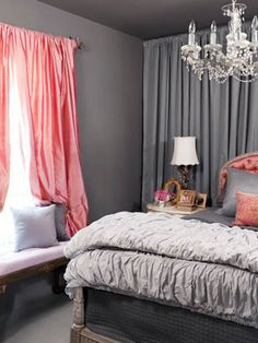 grey bedroom / bedroom curtains. I like this color scheme for the spare bedroom!