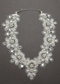 Oleg Cassini Pearl and Crystal Lace Necklace, Style 9075N #davidsbridal #lace #weddings #jewelry