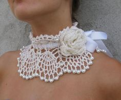 Crocheted white pearl choker/necklace.