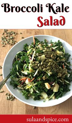 This healthy salad combines massaged kale with broccoli slaw, plus dried cranberries, diced apple and a sweet citrus vinaigrette dressing. Top with pepitas and enjoy the deliciousness! #vegankalesalad #easykalesalad #massagedkalesalad #kalesaladdressing #broccolisalad #broccolikalesalad #healthykalesalad #kalesaladwithapple