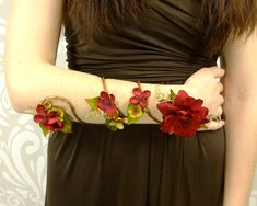 Flower Wrap Cuff, Flower Arm Band, Red and Gold Fairy Flower Cuff, Boho Bracelet, Woodland Armband, Fairy Armband, Vine Flower Arm Cuff by RuthNoreDesigns on Etsy