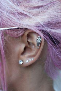 Cute piercings for girls, love the zipper